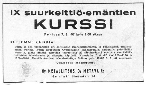 Kursų paskelbimas 1957 m